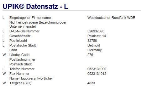 Firma: WDR in Detmold