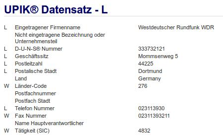 Firma: WDR in Dortmund