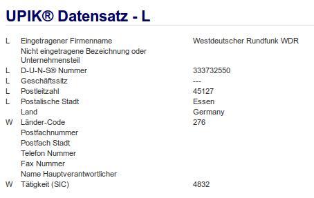 Firma: WDR in Essen