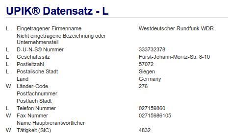 Firma: WDR in Siegen