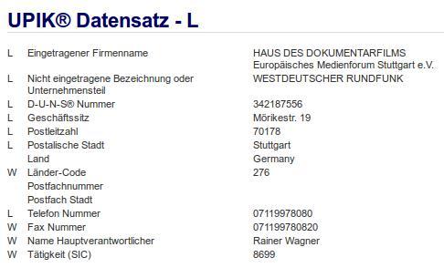Firma: WDR in Stuttgart