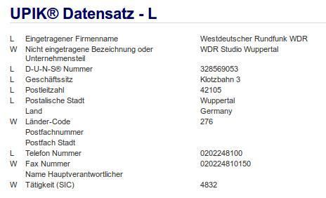Firma: WDR in Wuppertal