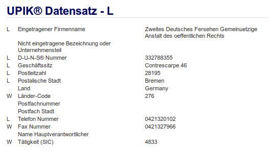 Firma: ZDF in Bremen