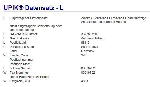 Firma: ZDF in Saarbrücken