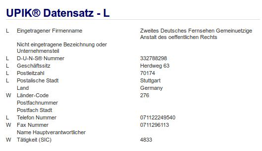 Firma: ZDF in Stuttgart