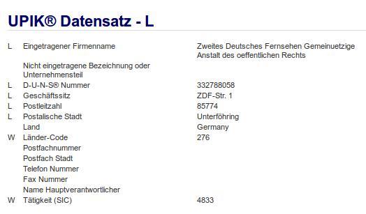 Firma: ZDF in Unterföhring