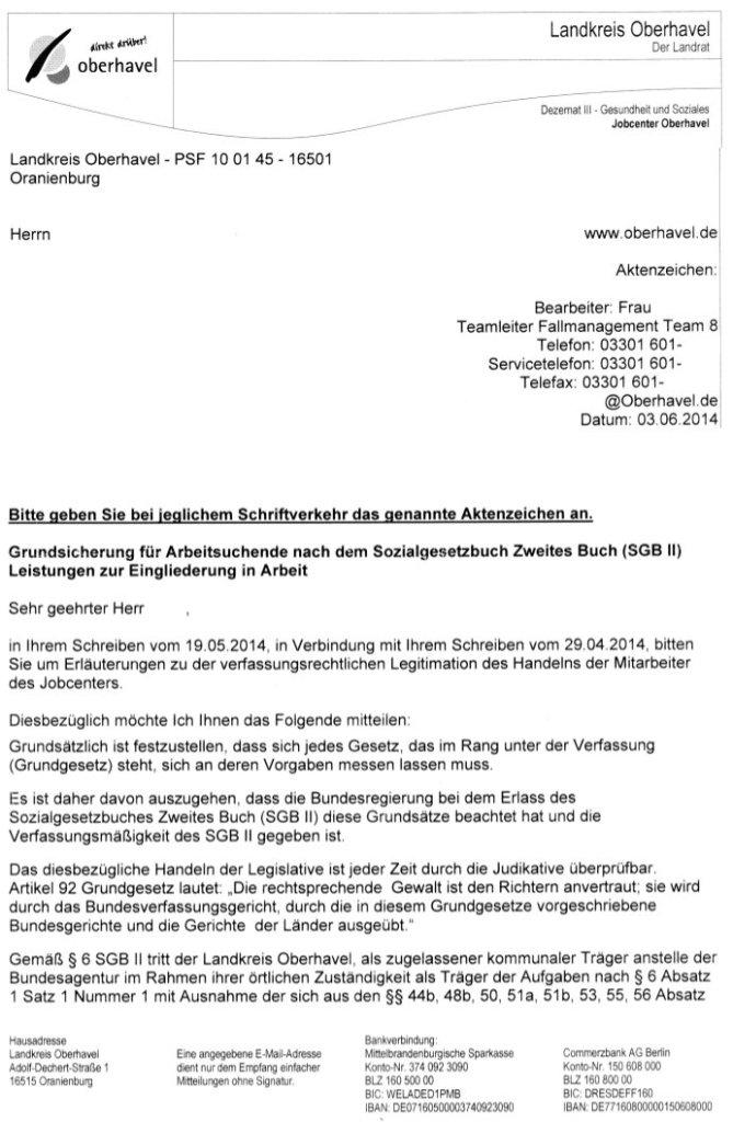 Jobcenter Oberhavel (OHV) begründet seine Vergehen mit erfundene Legitimation und untergeordnete Urteile.